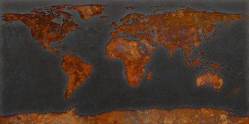 Wereldkaart roest - signaalzwart