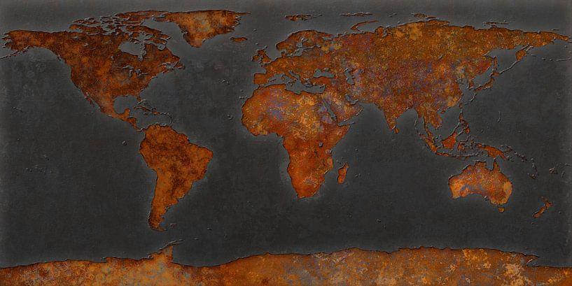 Wereldkaart roest - signaalzwart van Frans Blok