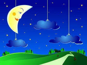 Halbmond mit Sternen und Wolken für das Kinderzimmer von Henny Hagenaars