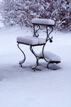 Graveyard bench in snow van Michael Nägele