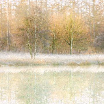 Winterse reflecties (olieverf) van Karla Leeftink