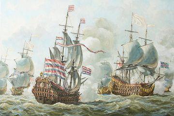 La bataille navale de 4 jours en juin 1666 sur Maritiem Schilder Arnold de Lange