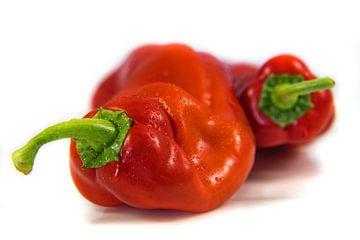 Macro rode paprika's op witte achtergrond van Dieter Walther