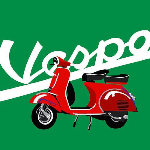 Rote Vespa auf Grün. von Jole Art (Annejole Jacobs - de Jongh)