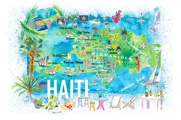 Haïti Geïllustreerde Eiland Reis Kaart met Wegen en Highlights van Markus Bleichner