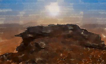 Wüstensonne über Felsen van Frank Heinz