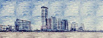 Het strand, de boulevard en de skyline van Vlissingen (schilderij) van Art by Jeronimo