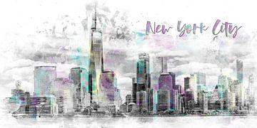 Moderne Kunst NYC Skyline van Manhattan | aquarel van Melanie Viola