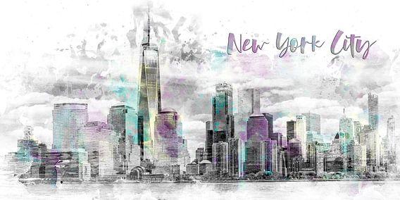 Moderne Kunst NYC Skyline van Manhattan | aquarel