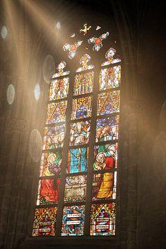 Glas-in-lood venster Sint-Willibrordusbasiliek in Hulst (versie 2) van Pim Klabbers