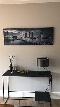 Klantfoto: Skyline Rotterdam Erasmusbrug - Metallic Grey van Vincent Fennis