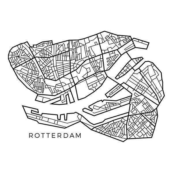 Map van Rotterdam in lijnen