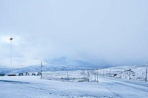 Besneeuwde weg, Noorwegen