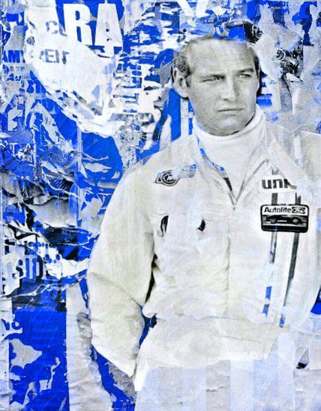 Paul Newman - Plakative Collage Blue von Felix von Altersheim