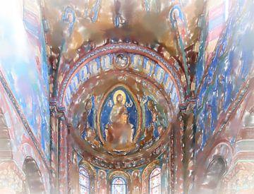 Plafondschildering in een kathedraal.
