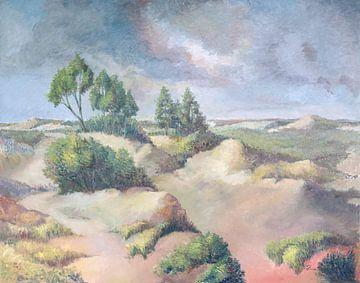 Zicht op de duinen in De Panne (België) van Galerie Ringoot