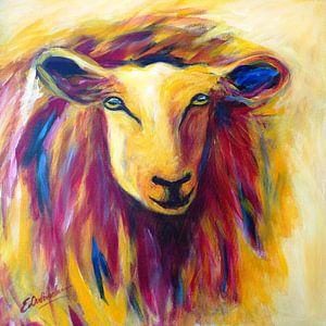 schilderij schaap in rood en geel