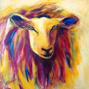 schilderij schaap in rood en geel van Eveline van Oudbroekhuizen