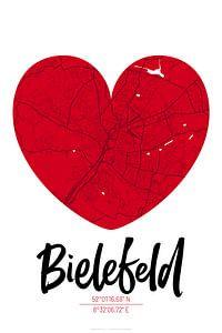 Bielefeld – City Map Design Stadtplan Karte (Herz)