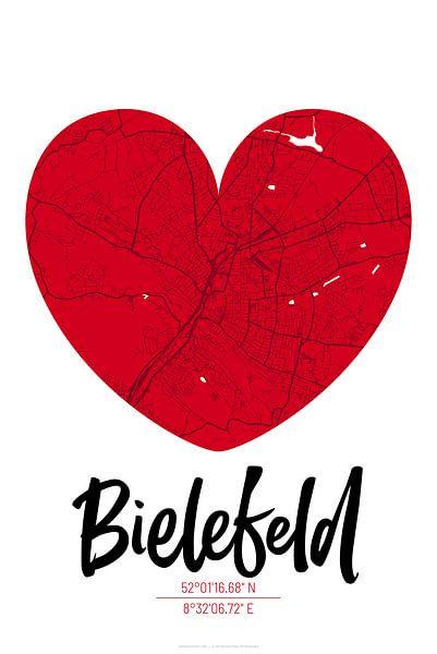 Bielefeld – City Map Design Stadtplan Karte (Herz) von ViaMapia