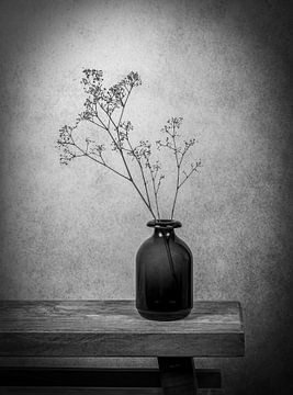 Stilleben Griffkraut in Vase in Schwarz-Weiß von Marjolein van Middelkoop
