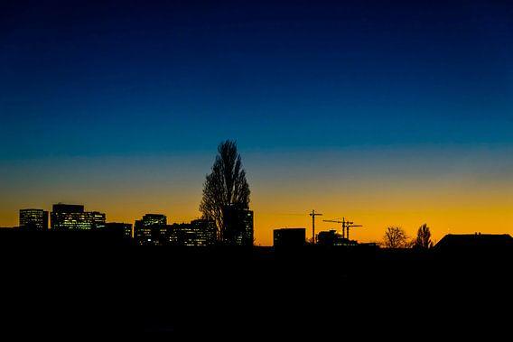 Skyline van de Amsterdamse Zuidas.