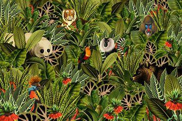 Jungle met panda, toekan, paradijsvogel, beer, tijger en apen. van