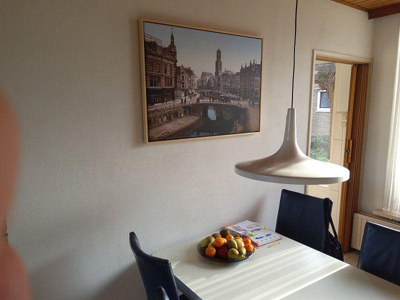 Klantfoto: Oude Gracht en Bakkerbrug, Utrecht van Vintage Afbeeldingen, op canvas