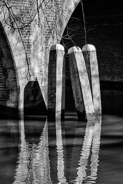 Dukdalven in de Oudegracht  bij de Jacobibrug in Utrecht (monochroom) van De Utrechtse Grachten