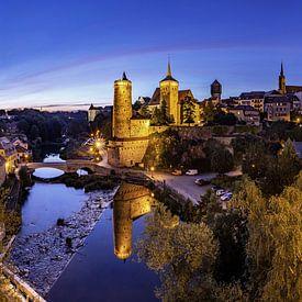 Panorama de la vieille ville de Bautzen à l'heure bleue sur Frank Herrmann