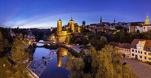 Panorama de la vieille ville de Bautzen à l'heure bleue