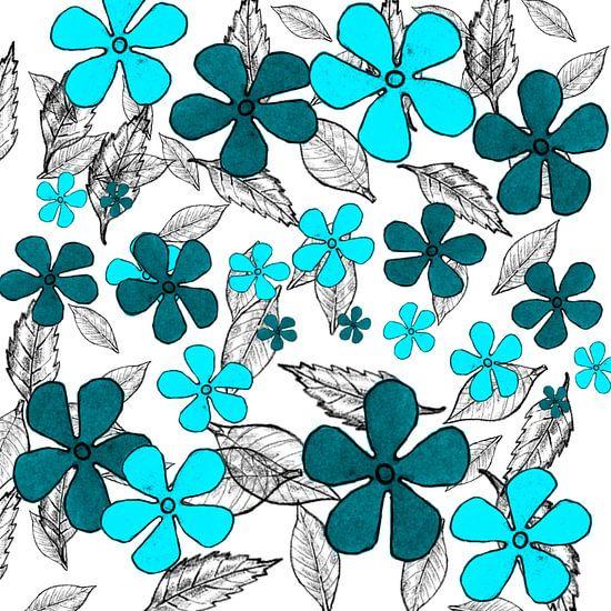 Blue digital flowers