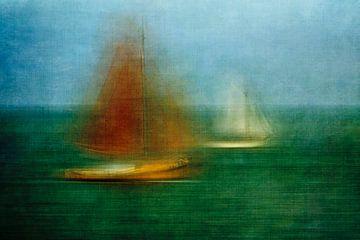 Zeilboten op de Waddenzee van Greetje van Son