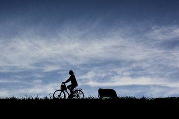 Cyclist in silhouette sur Arjen Roos