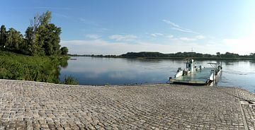 Veerpont aan de oever van de Elbe bij Maagdenburg van Heiko Kueverling