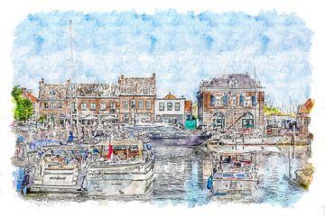Kleurrijke haven van Willemstad (Brabant, Nederland) (aquarel) van