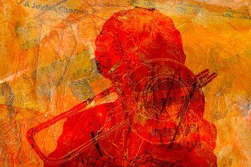 Muzikale trombone in rood oranje van Geert van Kuyck