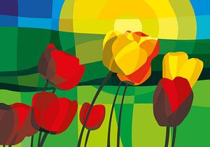 Tulpen, grüne Wiesen und ein Sommer-Sonnenaufgang von