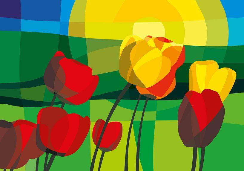 Tulpen, grüne Wiesen und ein Sommer-Sonnenaufgang von Color Square