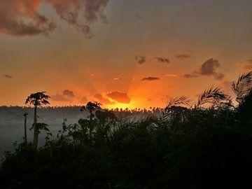 Zonsondergang in Mozambique van Arno Snellenberg