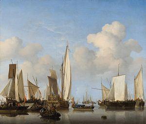 Windstille: Eine königliche Yacht umringt von anderen Schiffen, Willem van de Velde der Jüngere