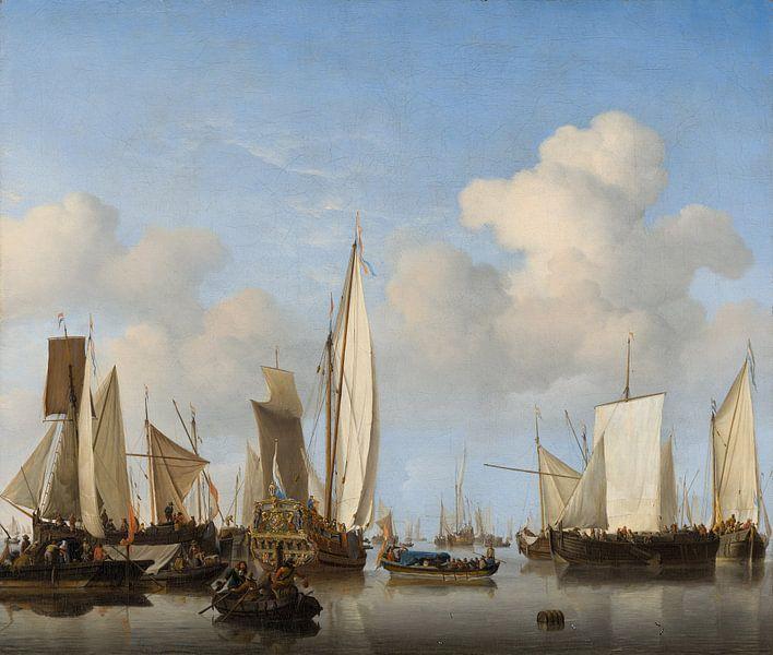 Windstille: Eine königliche Yacht umringt von anderen Schiffen, Willem van de Velde der Jüngere von Meesterlijcke Meesters
