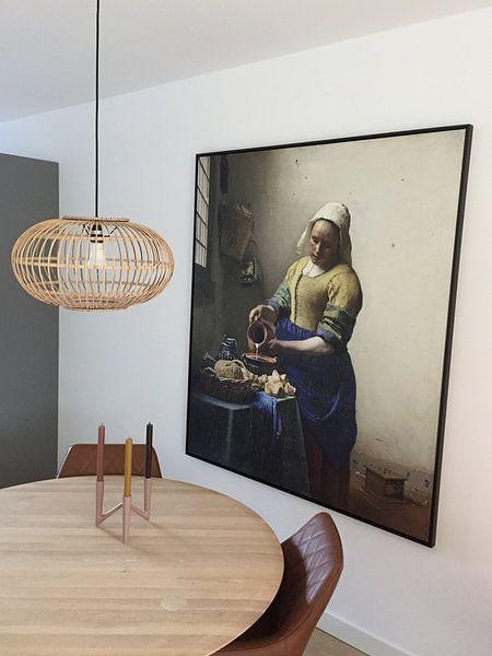 Klantfoto: Het Melkmeisje - Vermeer Schilderij (HQ) van Schilderijen Nu, op canvas