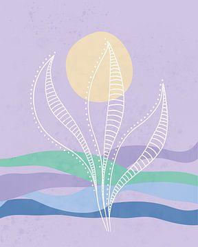 Blauwe golven met een zon en een abstract zee plant van Tanja Udelhofen