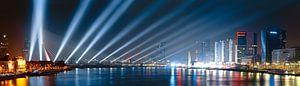 Panorama nieuwjaarsviering Erasmusbrug van