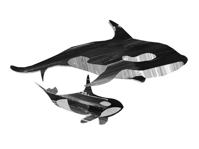 Samen zwemmen (zwart wit) van Goed Blauw