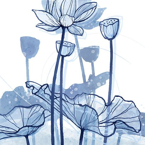 Lotus Delftsblauw 03 van Ingrid Joustra