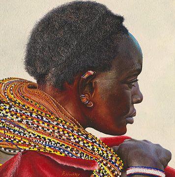 Samburu vrouw schilderij van Russell Hinckley