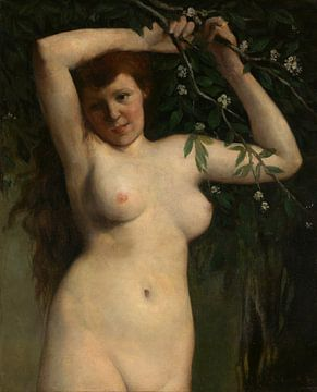 Nackt mit blühendem Zweig, Gustave Courbet
