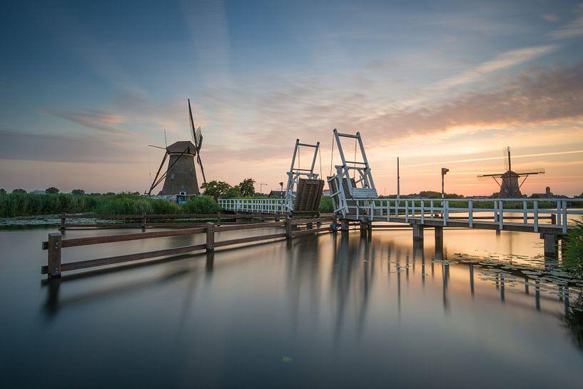 Zonsondergang in Kinderdijk van Raoul Baart